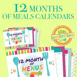12 Months of Meals Calendars