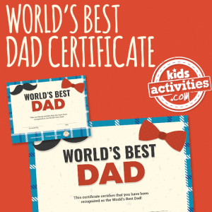 World's Best Dad Certificate for Father's Day