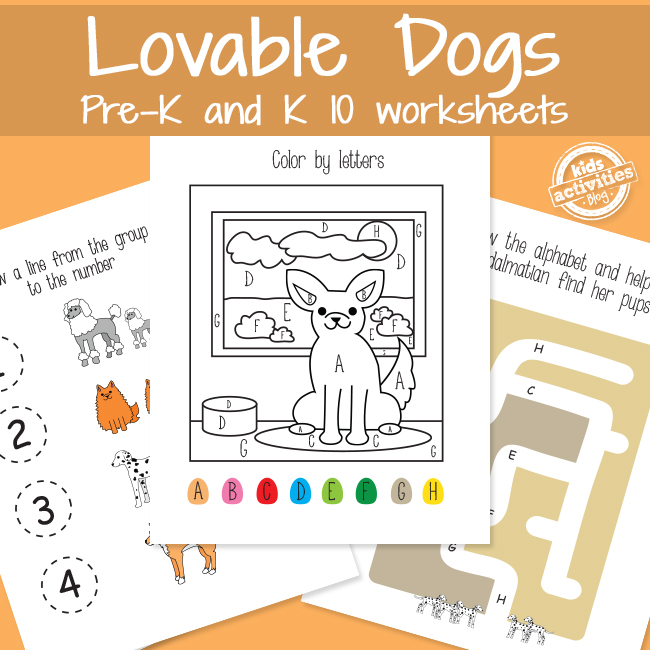 Learning with Dogs Worksheets for Preschool