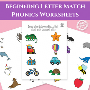 Beginning Letter Match Worksheets