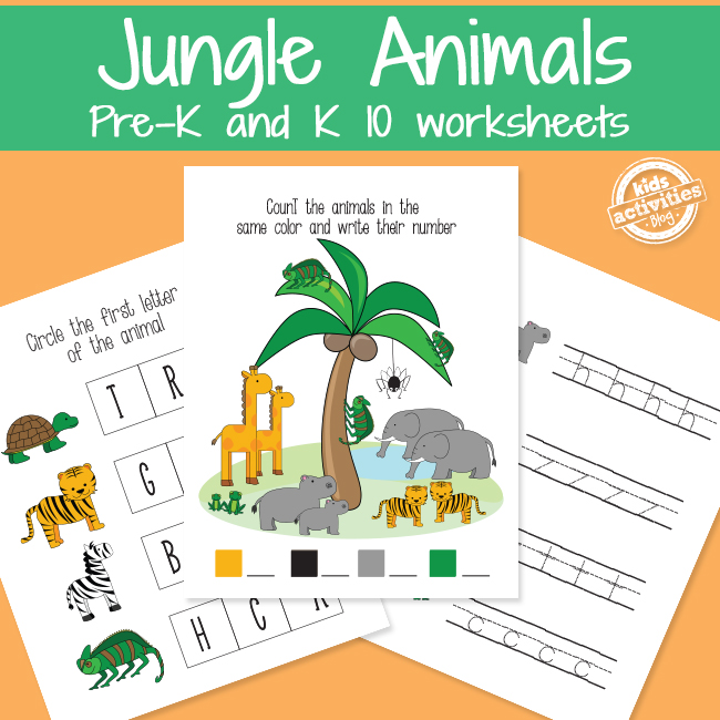 Learning with Jungle Animals Worksheets